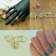 #9082 4 pcs/set RING Crystal Leaf Heart Shaped Knuckle Tail Ring Gold Plated
