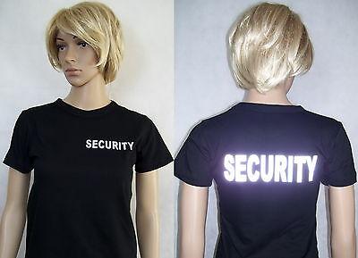 SECURITY Damen T-Shirt, schwarz oder marineblau, Text silberreflex,  S bis XXL