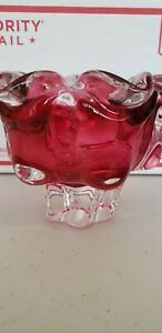 Bohemia-Czechoslovakia-hand-made-cranberry-crystal-bowl