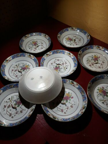 Vintage Dresden Bird of Paradise Peacock SV China Dish Set Replacement Listing