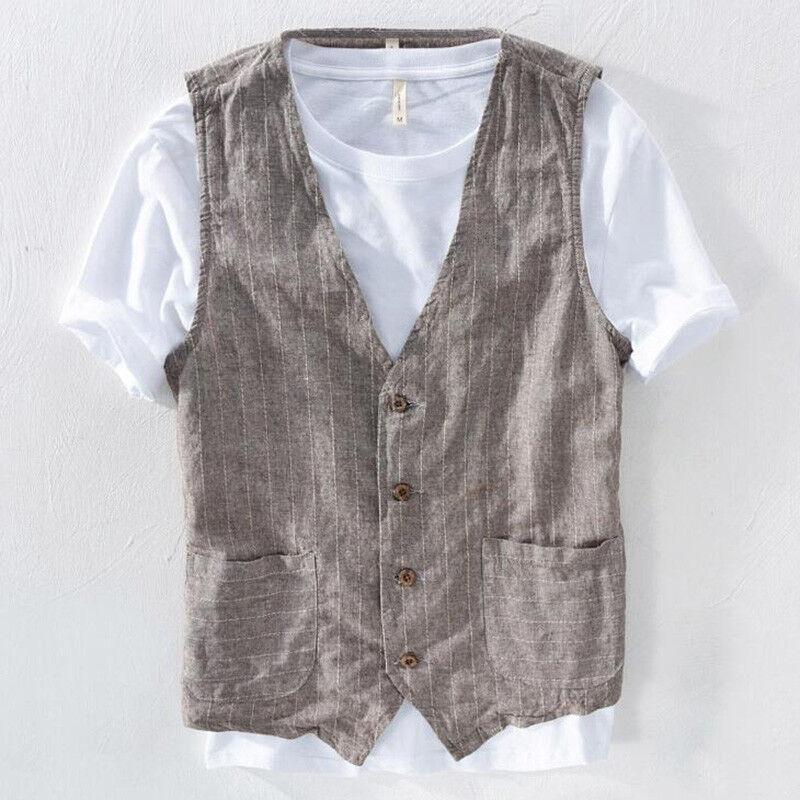 Mens Fashion Vintage Cotton linen Summer Buttons hemp Vest Breathable Waistcoat
