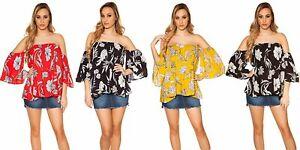 Blusa-donna-camicia-stampa-floreale-maglia-top-scollo-gitana-spalle-nude-nuova