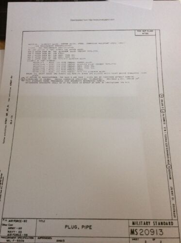 "Tubo de acero nos un enchufe 1 1//4/"" NPT MS20913-10 Qty 1 AN913-10 1.25/"" NPT K//4"