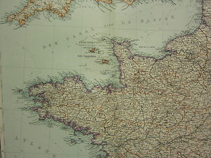 Calvados France Map.1907 Dated Map North West France Channel Islands Le Havre Orne
