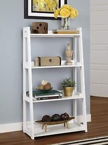 Details about Ladder Shelf White Wide 4 Tier Bookshelf Home Decor New Wood  Laminate Bookcase