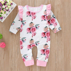 US Toddler Baby Girl Floral Ruffle Outfit Long Sleeve Romper Jumpsuit Clothes