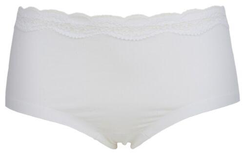 Ex Store No VPL Cotton Rich Lace Trim Shorts White