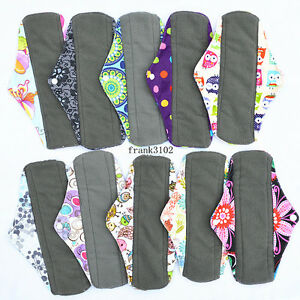 6-Medium-Charcoal-Bamboo-Cloth-Reusable-Menstrual-Sanitary-Maternity-Mama-Pads