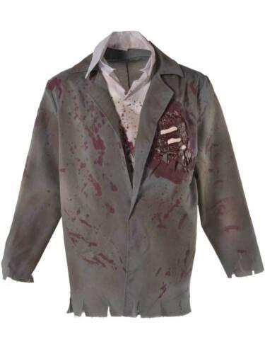 Adult Bloody Zombie Jacket Fancy Dress Walking Dead Halloween Horror Fake Shirt