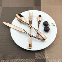 48pc Stainless Steel Rose Gold Dinnerware Cutlery Set Knives Forks Spoons Asian