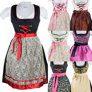 971a858f3aa6d5 Das Bild wird geladen Dirndl-Trachtenkleid-3-Tlg-Oktoberfest-Set-Kleid-Bluse -