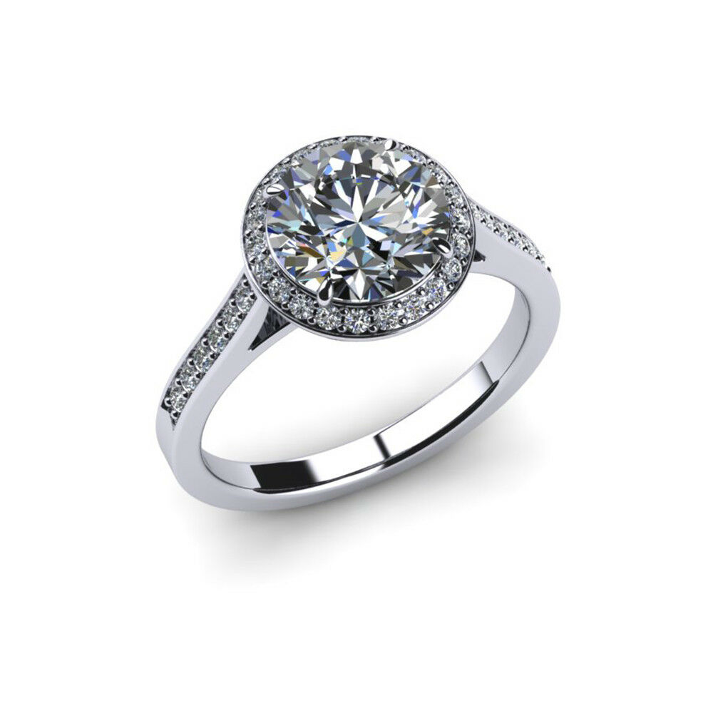 Round 0.64 Ct Genuine Diamond Engagement Rings 14K Solid White gold Size 6 5 7