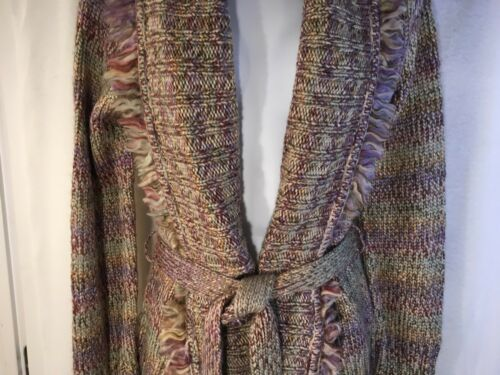 in Wrap M Collar Jacket lana cintura Fringe Cardigan con Harold's 158 Sweater q6w8a8
