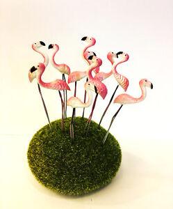 5 Pcs Flamingo Pink Terrarium Stake Miniature Dollhouse Fairy Garden