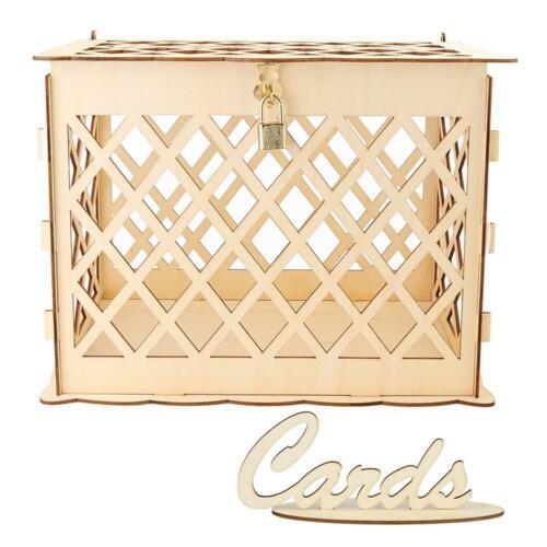 DIY Wedding Gift Card Box Wooden Money Box with Lock Box Kit Wedding Party Decor