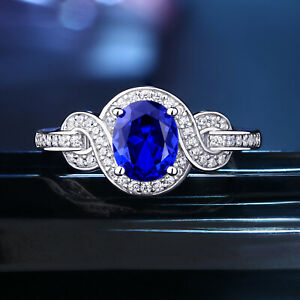 Gemstone-Ring-For-Women-Oval-Blue-Sapphire-White-Cz-925-Sterling-Silver-Sz-5-10