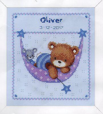 Stickpackung Stickbild sticken 22x20 cm Bär auf Wolke Baby Geburt Teddy Bärchen
