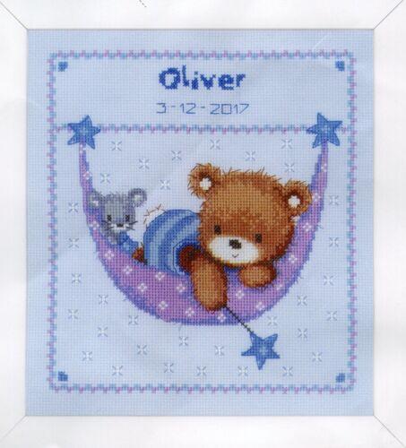 Stick envase Stick imagen bordar 21x24 CM osito en hamaca Baby jóvenes oso Kit