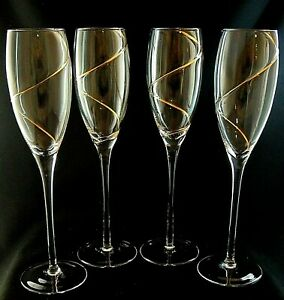 STRATA-by-Colony-Gold-Swirl-CHAMPAGNE-FLUTES-Glasses-9-7-8-034-Set-of-4