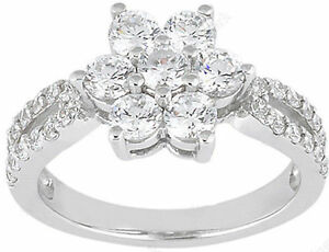 2.15 ct total Round DIAMOND Anniversary Wedding Ring Fancy Band 14k White Gold