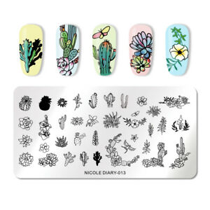 NICOLE-DIARY-Nail-Stamping-Plates-Flower-Cactus-Butterfly-Nail-Stamp-Image-Plate