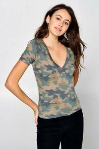 Women-039-s-Camo-Print-T-Shirt-V-Neck-Soft-Knit-Short-Sleeve-Tee-Camouflage-Top