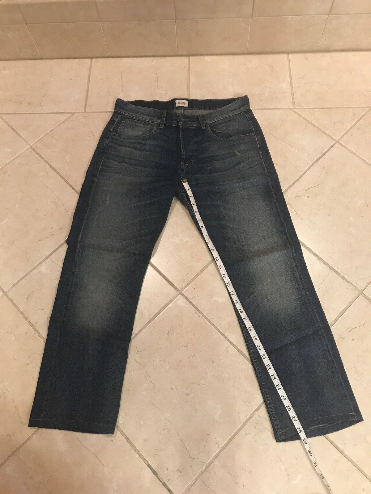 Mens Hudson Byron Straight Jeans bluee  34 x 29 button fly