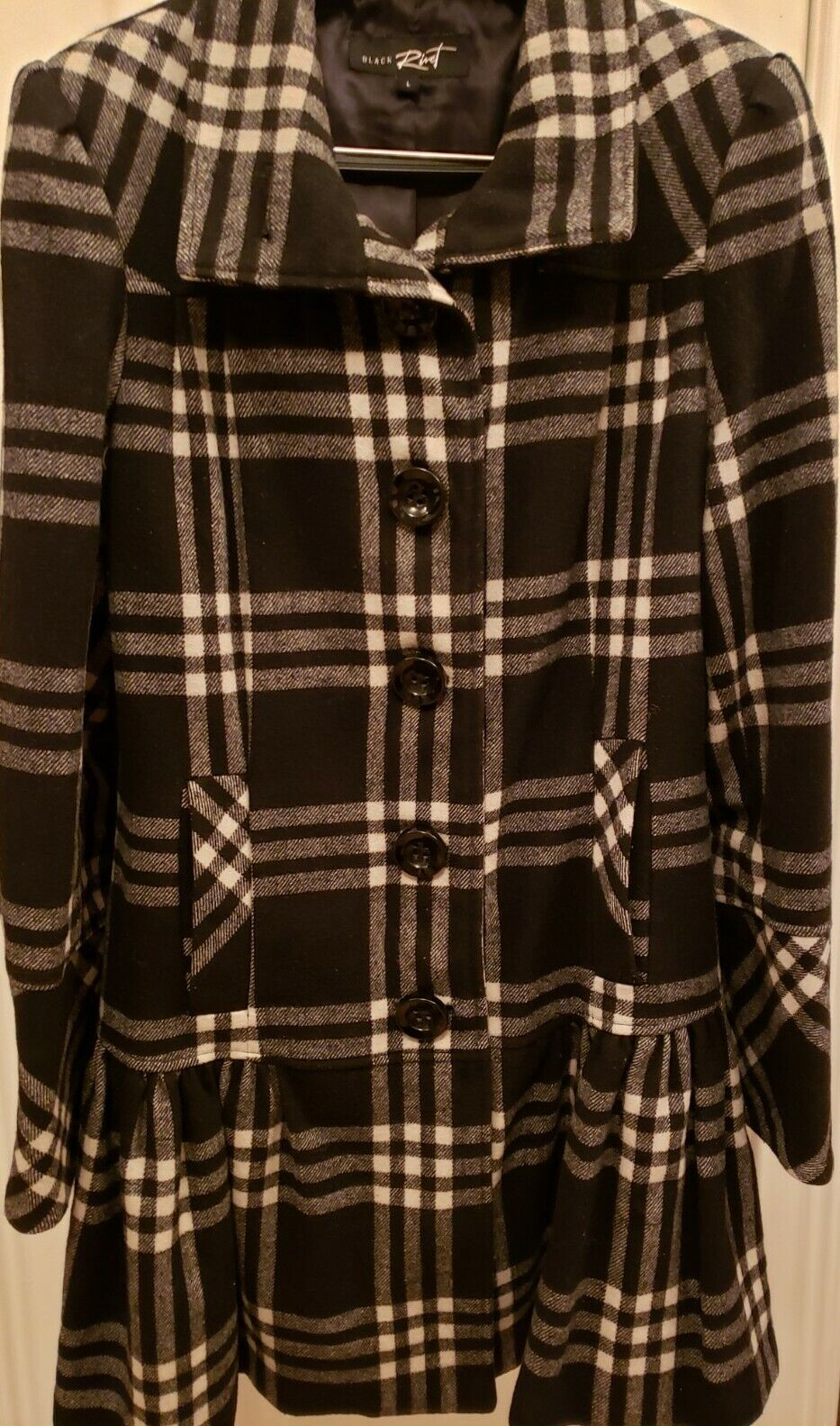 Womens black/white block peplum style wool coat size L - Rivet brand