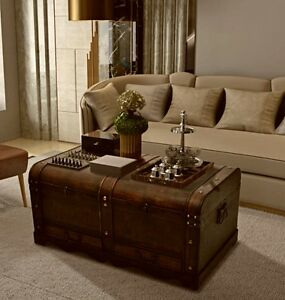 Coffee Table With Storage Wooden Treasure Chest Large