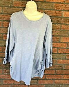 Coldwater-Creek-3-4-Sleeve-Shirt-2X-Ruched-Side-Sleeve-100-Cotton-Top-Blouse