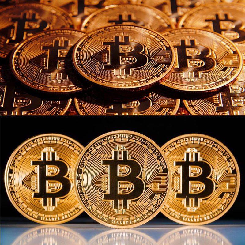 Gold Plated Physical Bitcoin in protective acrylic case 2018 Newest BITCOIN!