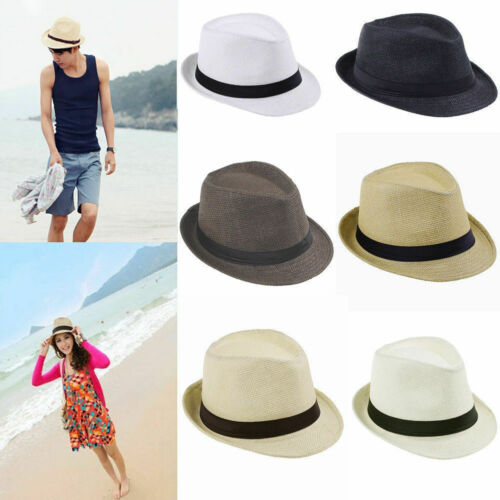 Summer Women Men Beach Trilby Fedora Straw Panama Wide Brim Beach Cap Sun Hat