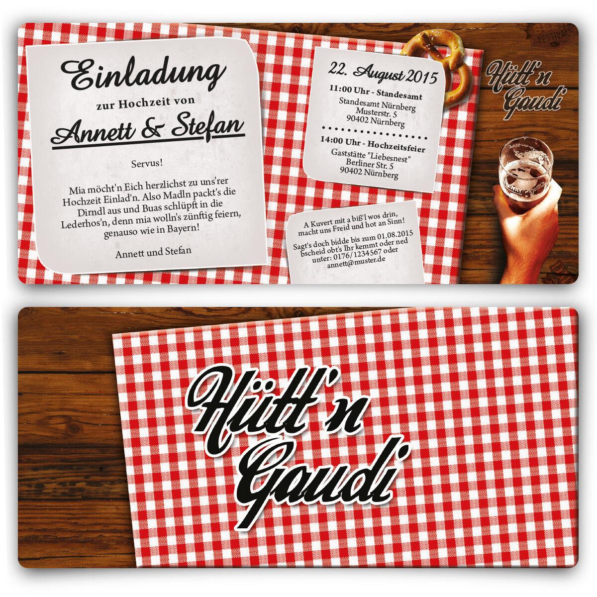 Einladungskarten zur Hochzeit Hütt'n Gaudi Frühschoppen Oktoberfest Wiesn Bayern | Professionelles Design  | Ausgezeichnet (in) Qualität