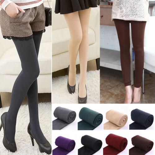 Thermo Leggings Hose Baumwolle Fleece Leggins Dick Weich Damen Slim Lange Socken