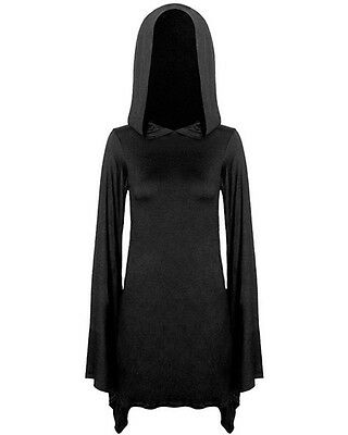 Killstar Witch Hooded Dress Black Long Sleeve Goth Occult Witchcraft