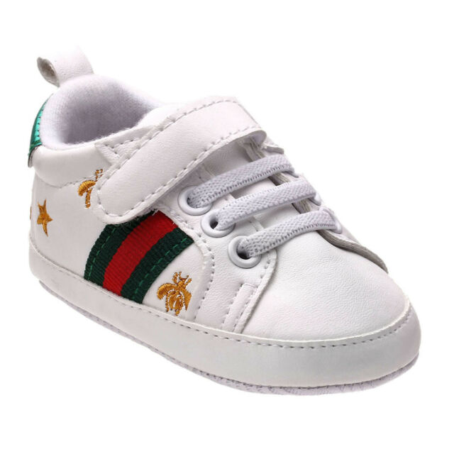 Fashion Baby Boy Girl Crib Shoes Infant Child White Sneakers Trainers Size 0 12M