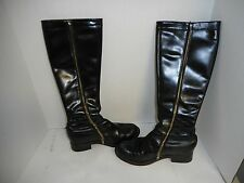 John Fluevog Sz 7.5 Moto Boots Black Leather  Full Zip (1 broke) Biker Punk Goth