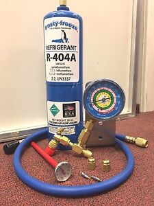 Details about R404a, Recharge Kit, 28 oz , w/Check & Charge-It Gauge &  Charging Hose
