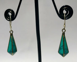 AsianRegional-Sterling-silver-earring-Handmade-Asian-jewelry-Turquoise-stone-DM7