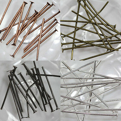 Hot 50/100/200X Silver Plated Flat Head Pins Jewelry Finding 16/20/30/40/50/60mm