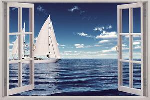 Sailboat Wall Art sailing boat 3d window view removable wall art sticker vinyl decal