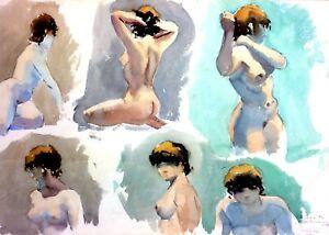 NUS-FEMININS-AQUARELLE-SUR-PAPIER-SIGNE-GASPAR-ROMERO-ESPAGNE-1986