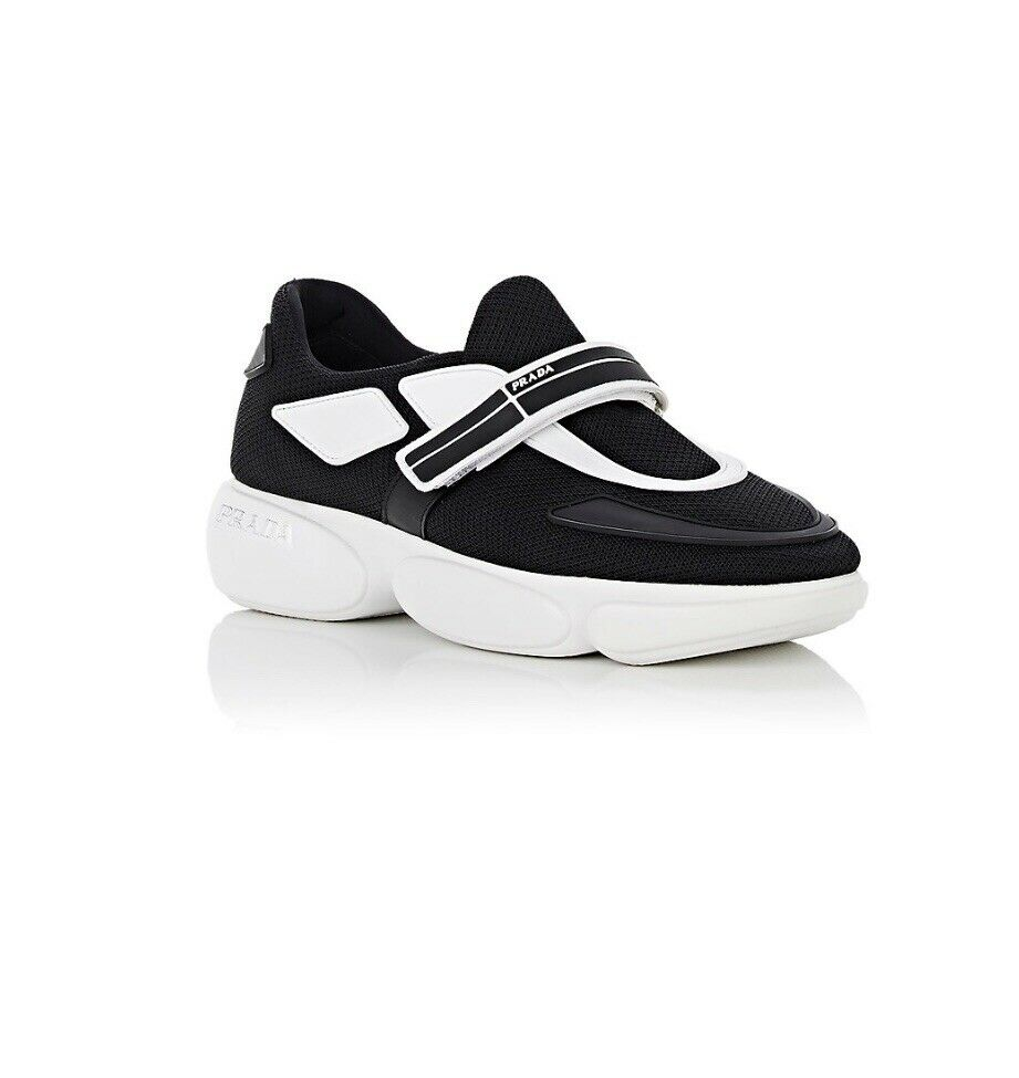 New Prada Cloudbust Black & White Mesh Trainer Sneaker Size 38.5EU 8.5US  750.00