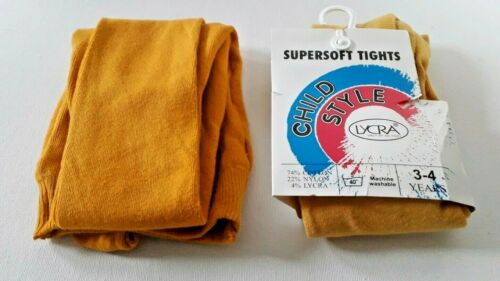 Girls supersoft tights 2 pairs yellow shades one gold one pumpkin Age 3-4 NWT