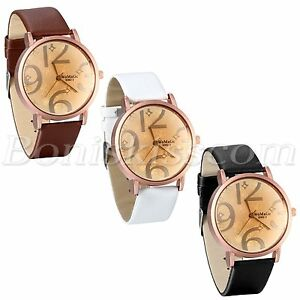 Womens-Chic-Fashion-Big-Numerals-Dial-PU-Leather-Strap-Analog-Quartz-Wrist-Watch