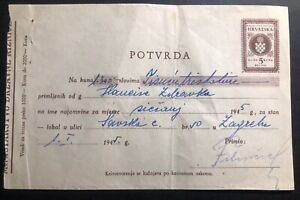 1945-Croatia-Germany-State-Confirmation-Receipt-Sheet-Cover-To-Zagreb