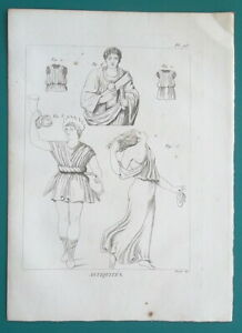 GREEK-DRESS-Clothing-Male-Female-Tunic-Colobium-1804-Antique-Copperplate-Print