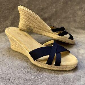 335a3a0cc6e Details about J.Crew Women's Navy Espadrille Wedges Sandals Slides Size 8