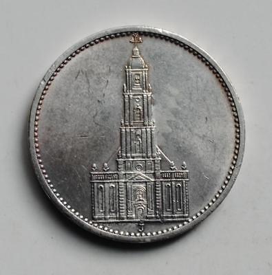 Rare World War 2 Germany 1934 5 Reichsmark Garrison Church With Date Silver Coin