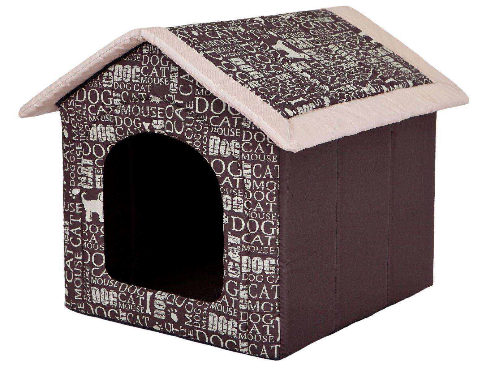 Hundehöhle HobbyDog Hundehaus Hundehütte Braun mit Wörter R5  70 x 60 cm